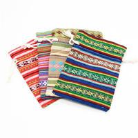 Drawstring Gift Bag Pouches Striped Cotton Bags
