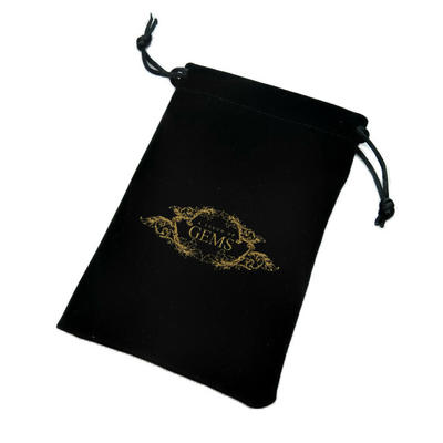 Custom Logo Printed Black Velvet Drawstring Jewelry Pouch
